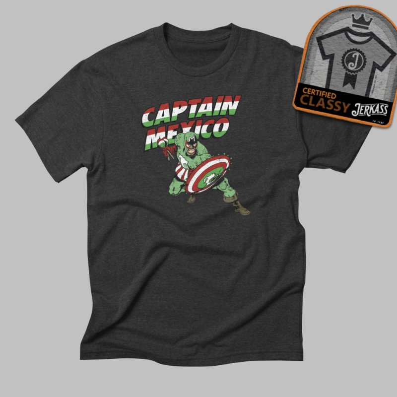 Captain Mexico in Men's Triblend T-Shirt Heather Onyx by Jerkass