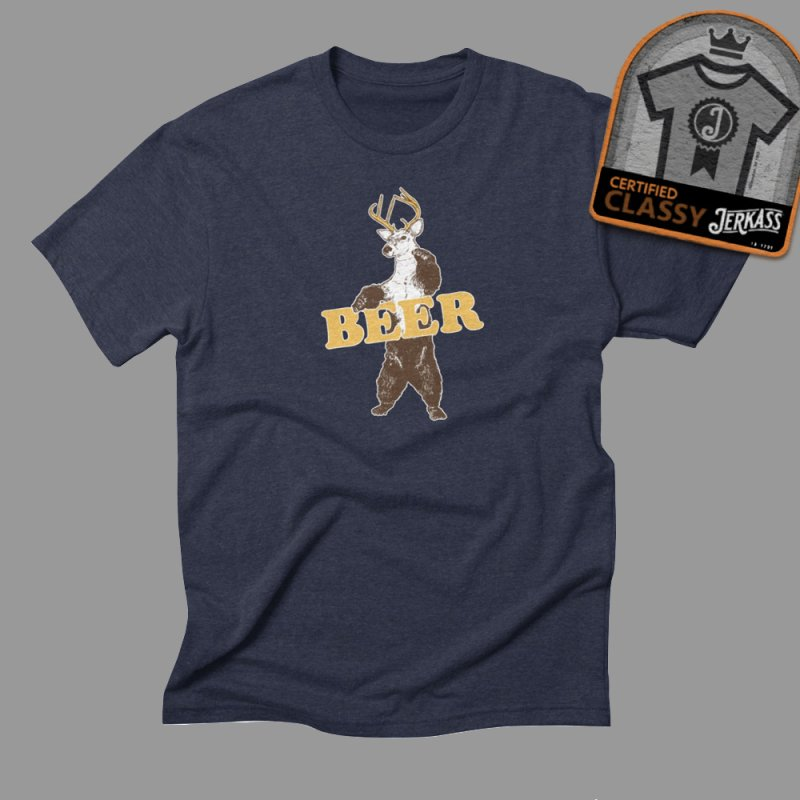 Bear + Deer = Beer in Men's Triblend T-Shirt Navy by Jerkass