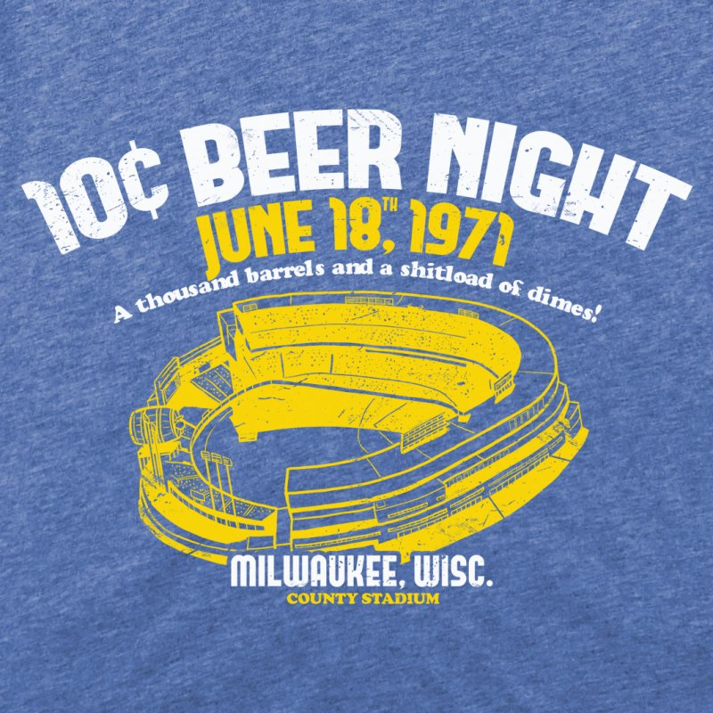 10 Cent Beer Night County Stadium in Men's Triblend T-Shirt Blue Triblend by Jerkass