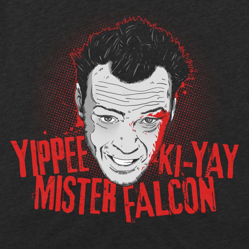 Yippee Ki-Yay Mister Falcon in Men's Triblend T-Shirt Heather Onyx by Jerkass
