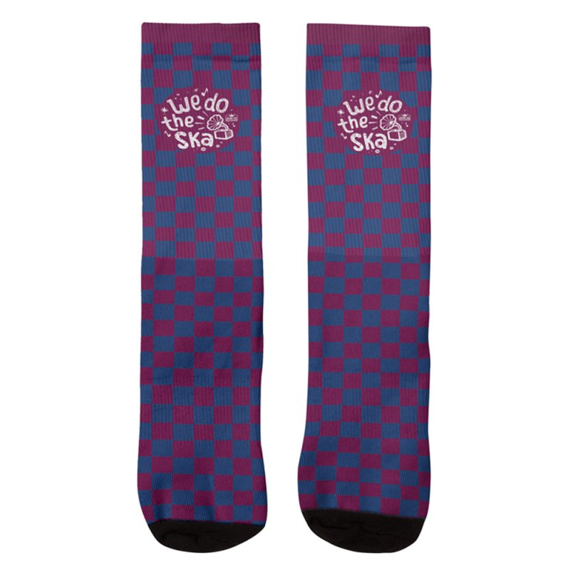 We Do The Ska Checkerboard Blue in Men's Crew Socks by Jump Up Records