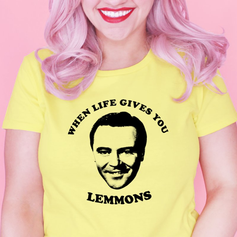 Jack Lemmon in Women's Fitted T-Shirt Light Yellow by Kate Gabrielle's Threadless Shop