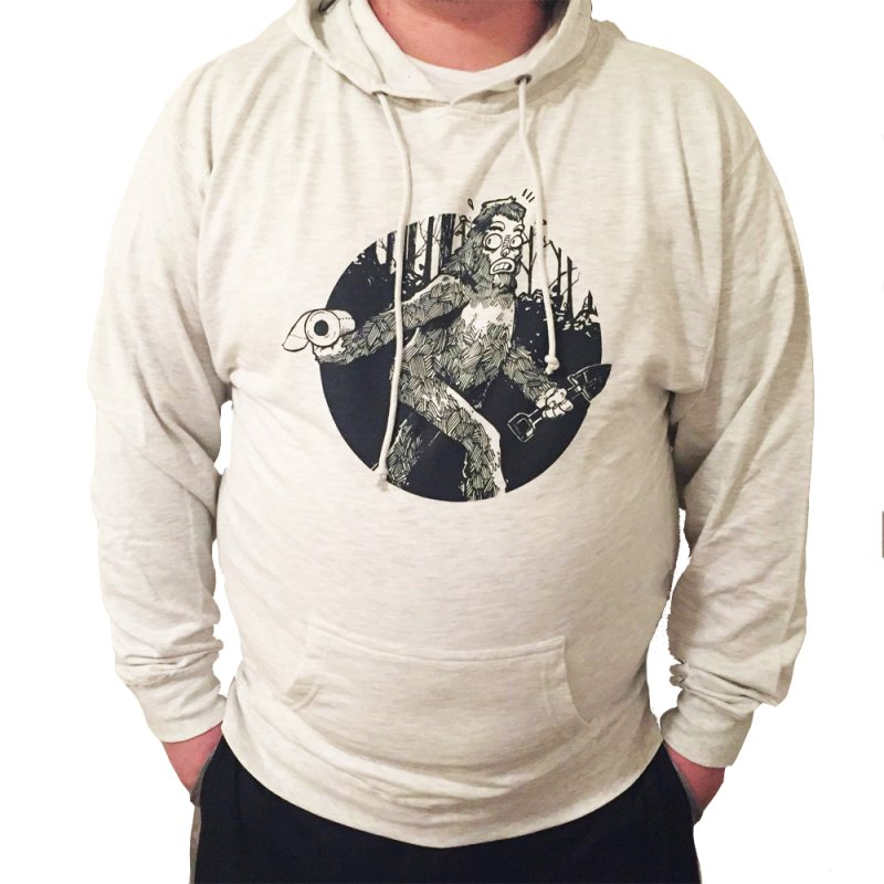 Sasquatch Secret in Men's French Terry Pullover Hoody Heather Oatmeal by Kyle Ferrin's Artist Shop