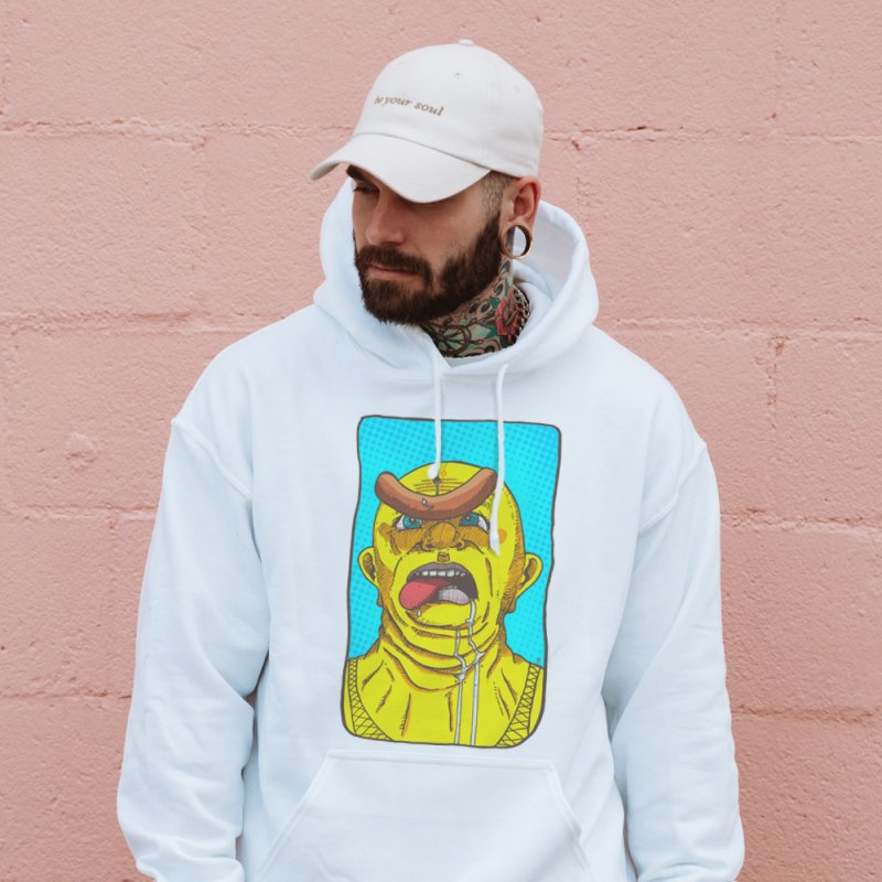 Drooling in Men's French Terry Pullover Hoody Heather Oatmeal by leegrace.com