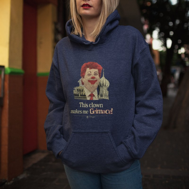 This clown makes me grimace. in Women's French Terry Pullover Hoody Navy by Lefthugger