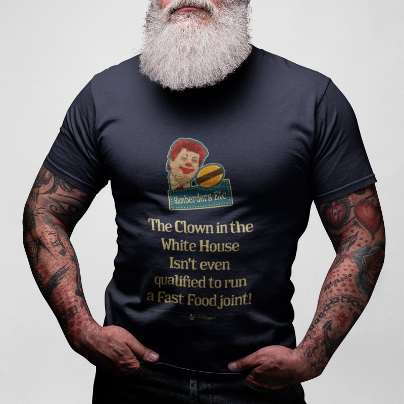 Hamberders Etc in Men's Extra Soft T-Shirt Navy by Lefthugger