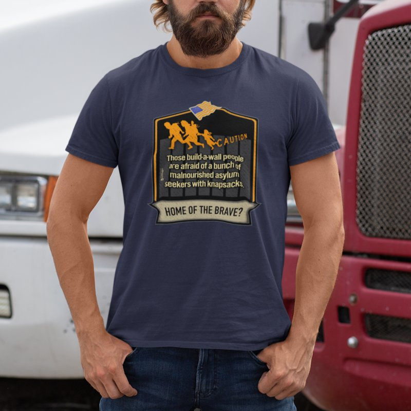 Home of the Brave? in Men's Regular T-Shirt Navy by Lefthugger