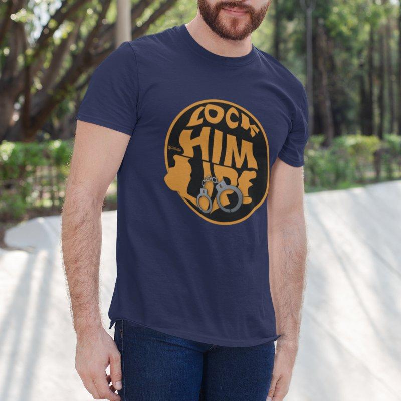 Lock HIM UP! in Men's Regular T-Shirt Navy by Lefthugger