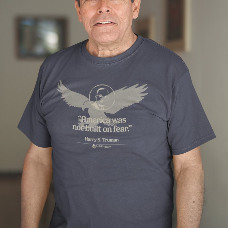 """America was not built on fear."" in Men's Regular T-Shirt Navy by Lefthugger"