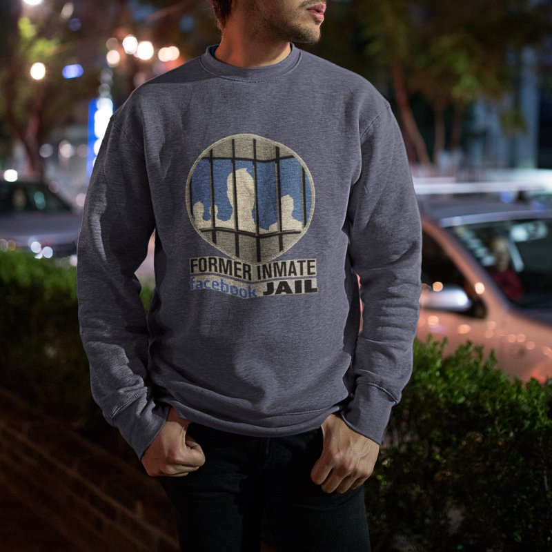 Former Inmate Facebook Jail in Men's French Terry Sweatshirt Heather Navy Denim by Lefthugger