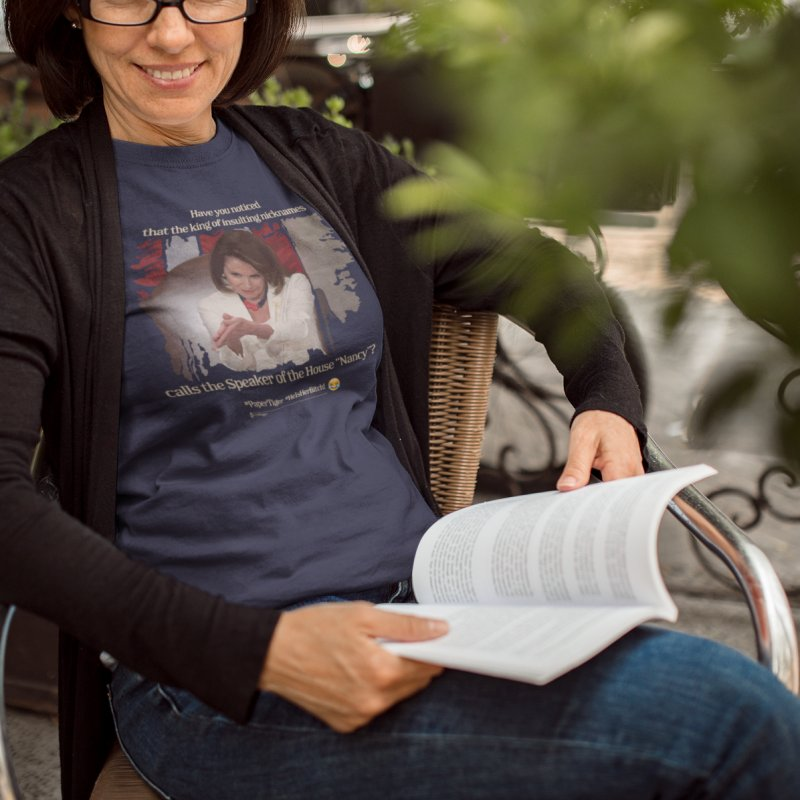 Nancy in Women's Extra Soft T-Shirt Navy by Lefthugger