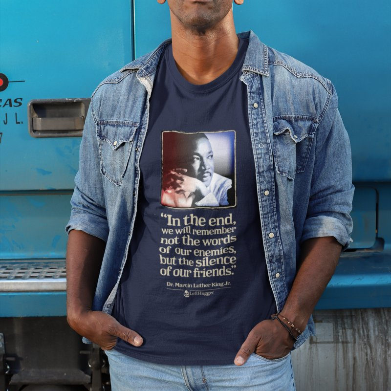 ...the silence of our friends in Men's Regular T-Shirt Navy by Lefthugger