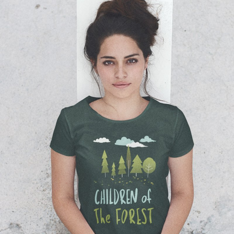 Children Of The Forest in Men's Heavyweight T-Shirt Navy by Literary Swag