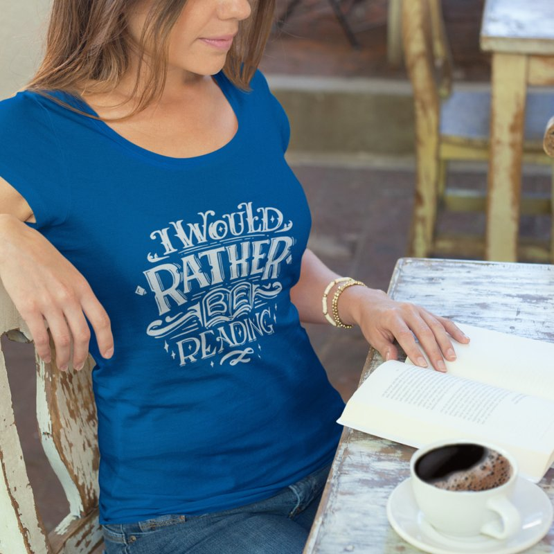 I Would Rather Be Reading in Women's Heavyweight Unisex T-Shirt Royal Blue by Literary Swag