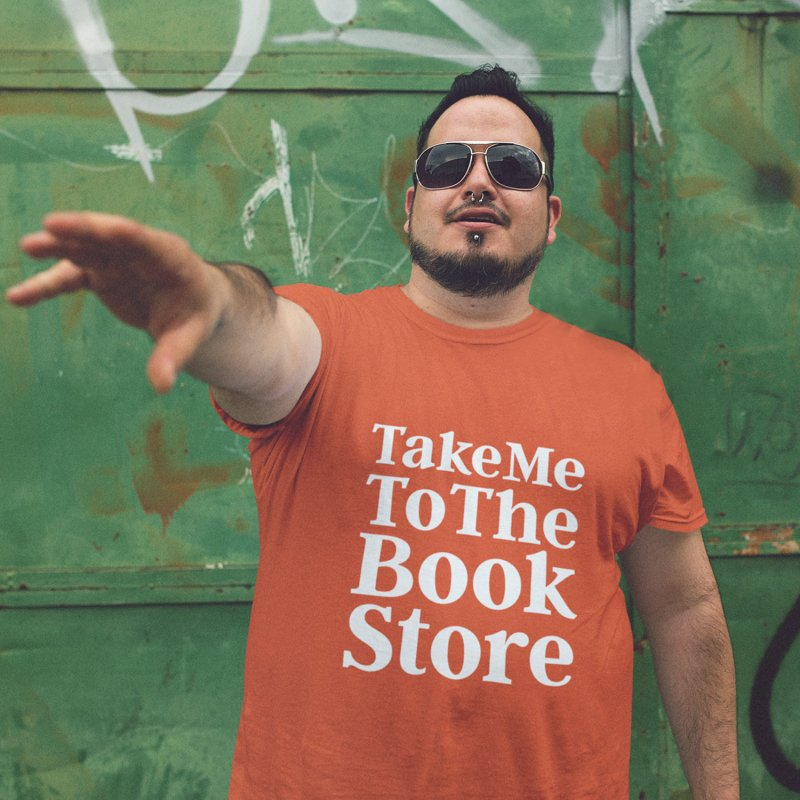 Take Me To The Book Store in Men's Heavyweight T-Shirt Orange Poppy by Literary Swag