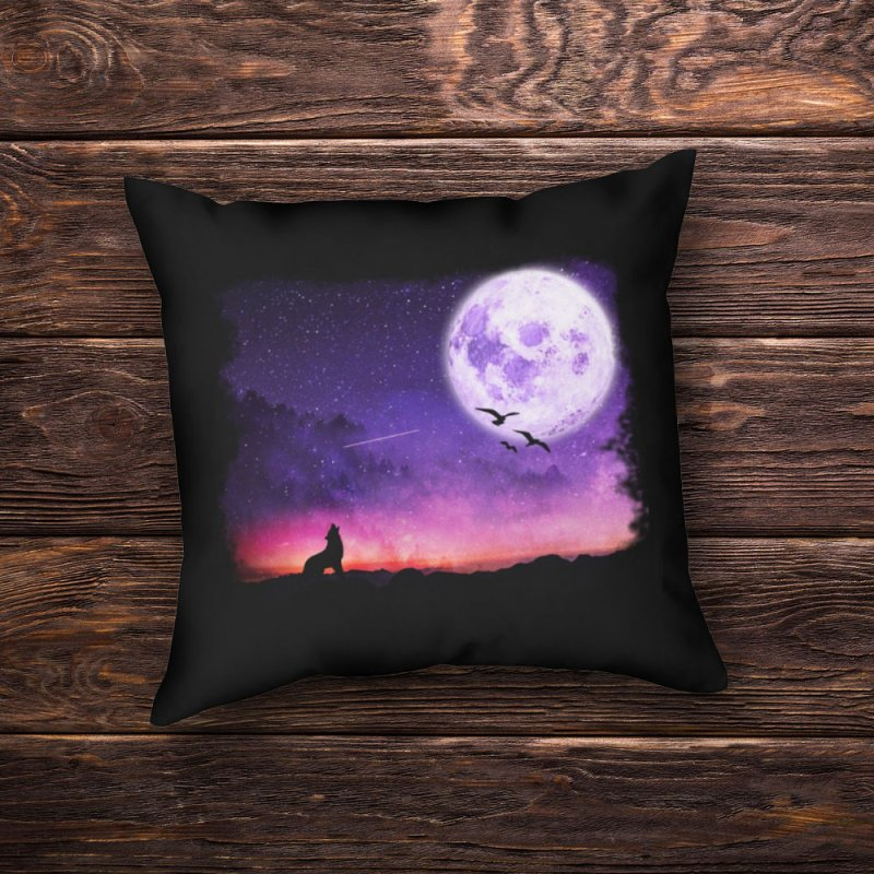 Baying to the Moon in Throw Pillow by Magic Pixel's Artist Shop