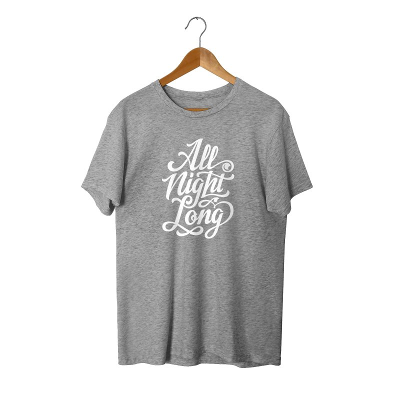 ALL NIGHT LONG in Men's Triblend T-Shirt Grey Triblend by Malcom clothing