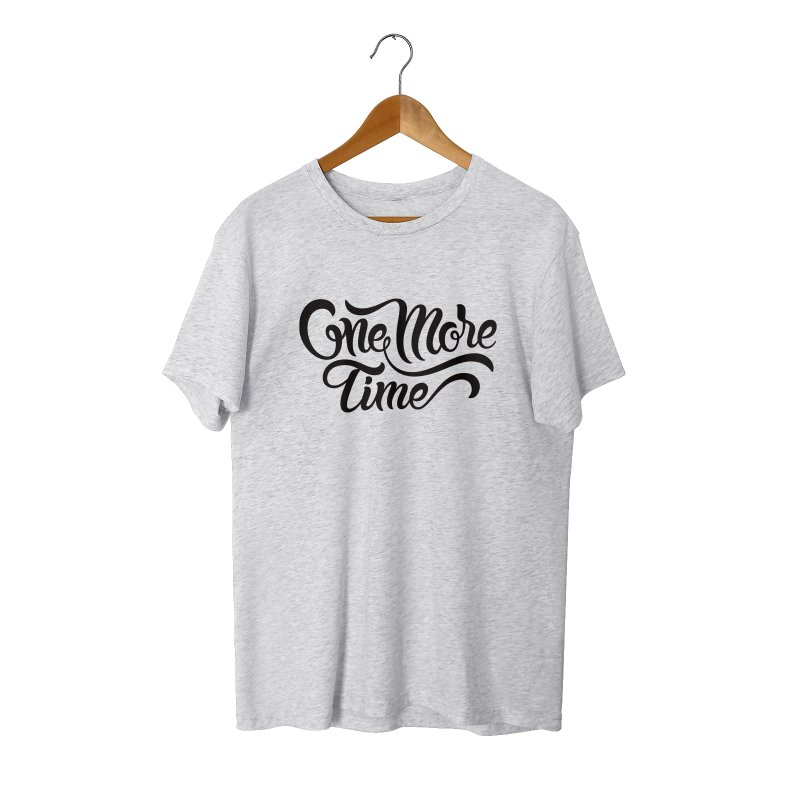 ONE MORE TIME in Men's Triblend T-Shirt Heather White by Malcom clothing