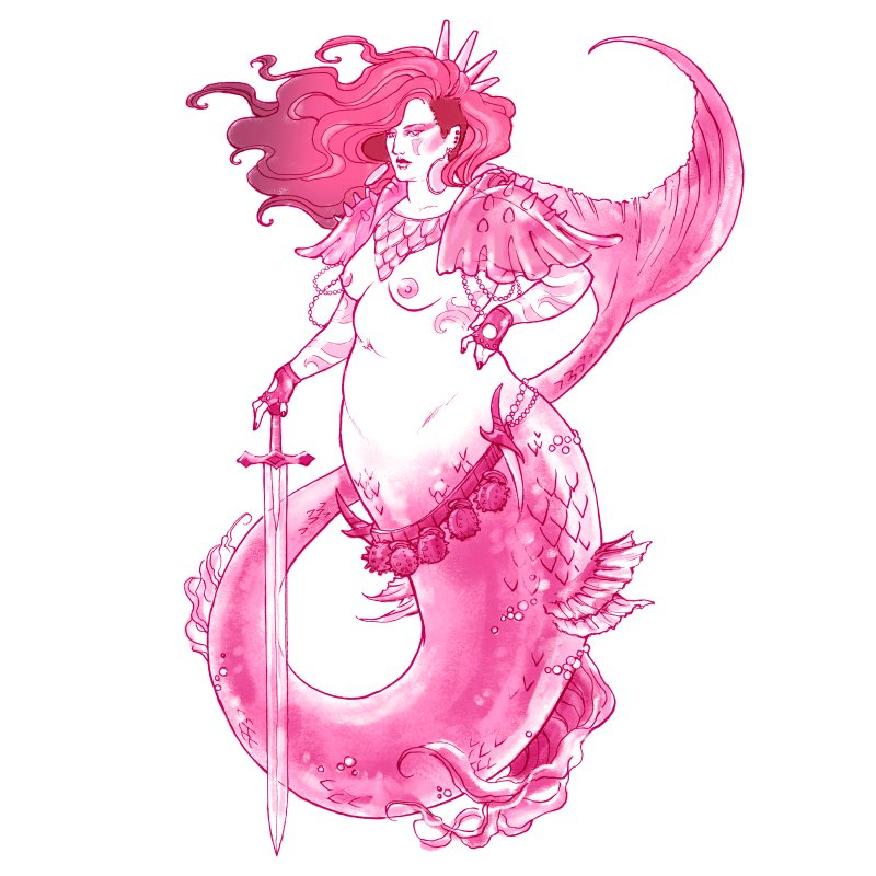 Pink Mermaid - Superboss Badass Siren by Mar del Valle's Artist Shop