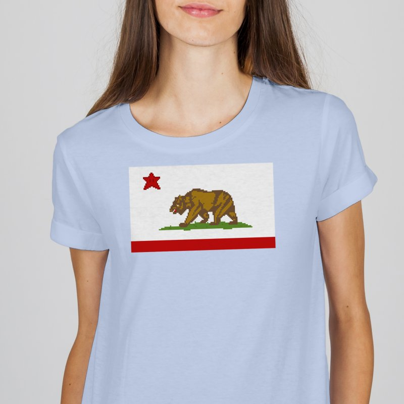 California Pixel Flag in Men's Heavyweight T-Shirt Royal Blue by Mario Maps
