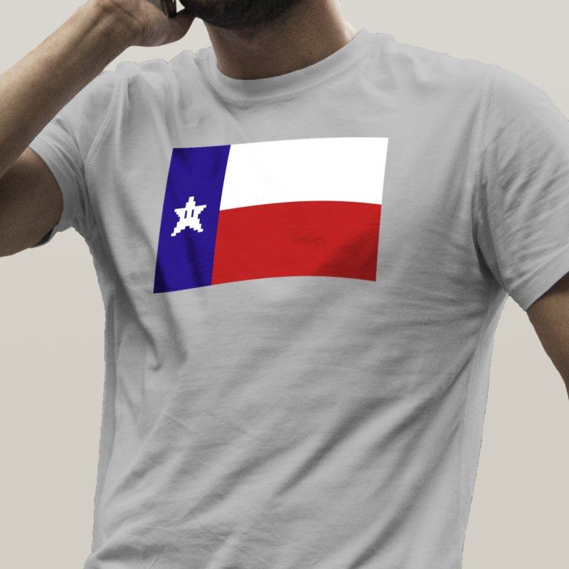 Texas Pixel Flag in Men's Heavyweight T-Shirt Heather Grey by Mario Maps