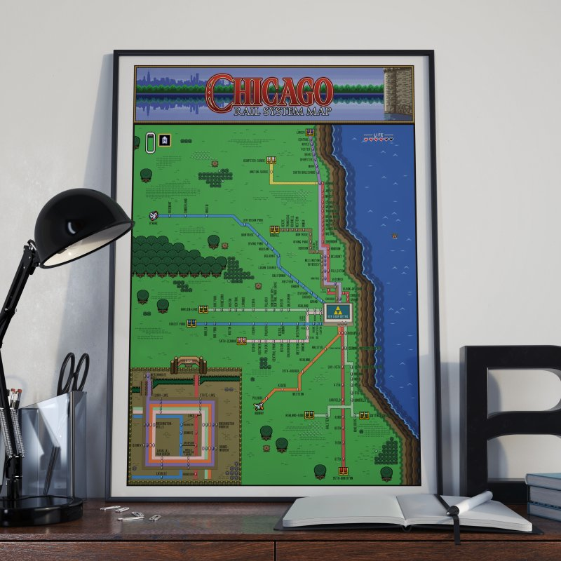 Chicago Zelda Map in Fine Art Print by Mario Maps