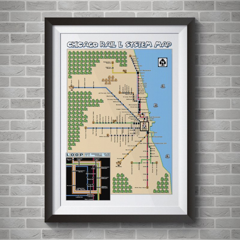 Chicago Super Mario 3 Map in Fine Art Print by Mario Maps