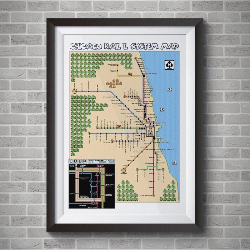 Chicago Super Mario 3 Map in Fine Art Print by Mario Maps