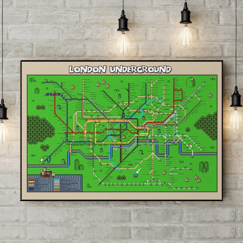 London Super Mario Map in Fine Art Print by Mario Maps