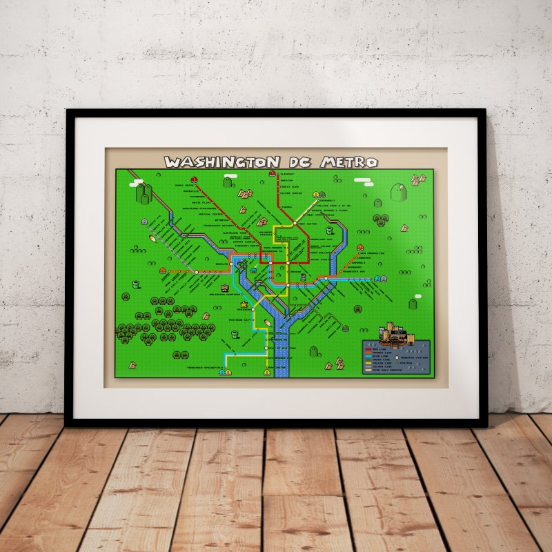 Mario Maps Featuring Custom Tshirts Prints And More - Custom framed maps