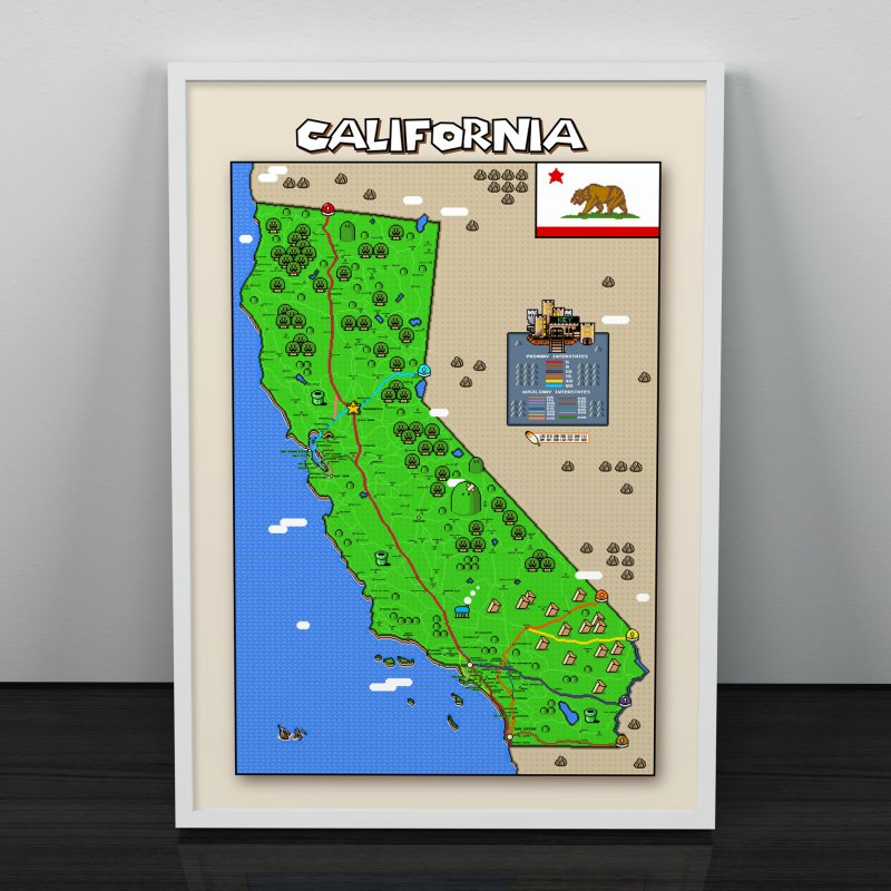 California Super Mario World Map in Fine Art Print by Mario Maps