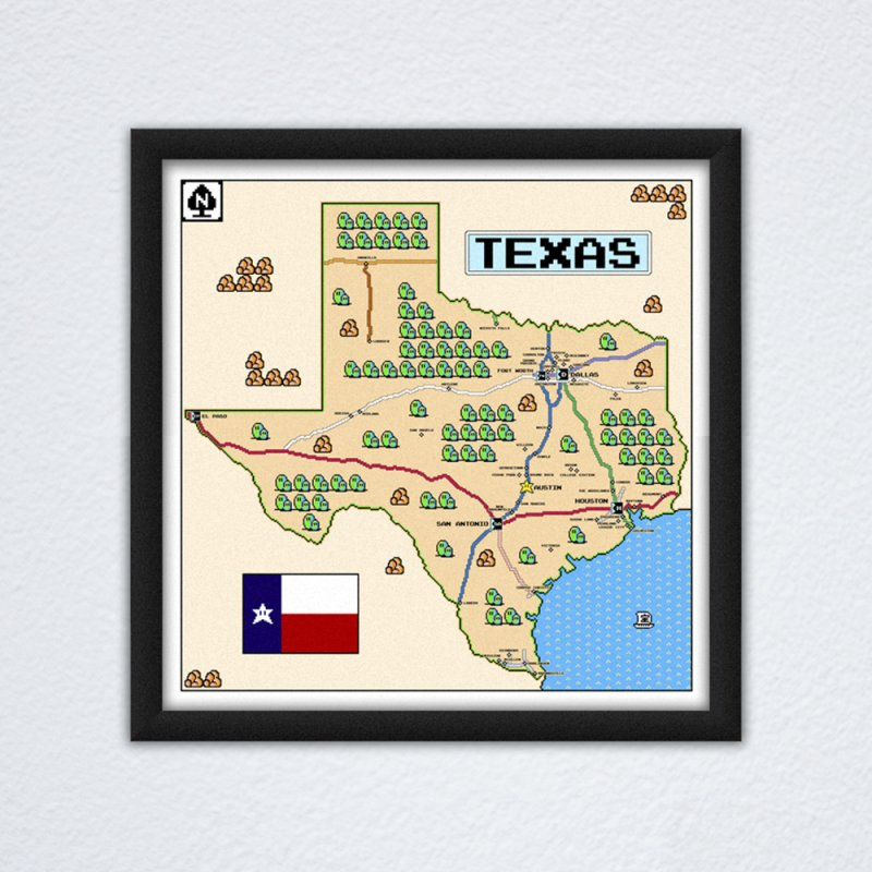Texas Super Mario 3 in Fine Art Print by Mario Maps
