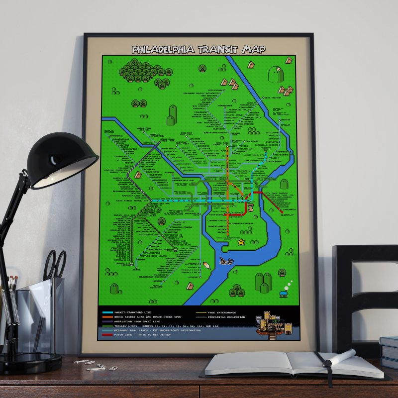 Philadelphia Super Mario World in Fine Art Print by Mario Maps