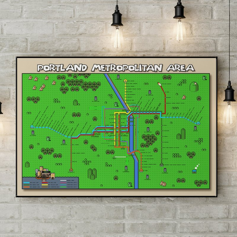 Portland Super Mario World in Fine Art Print by Mario Maps