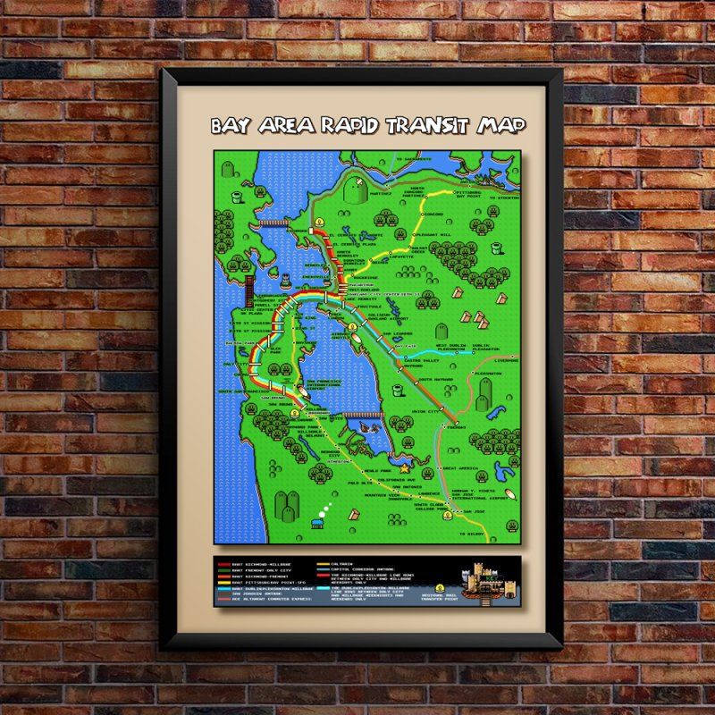 Bay Area Super Mario Map in Fine Art Print by Mario Maps