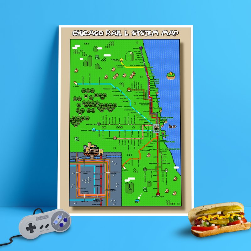 Chicago Super Mario World L Map in Fine Art Print by Mario Maps