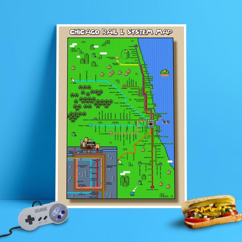 Chicago Super Mario World L Map in Fine Art Print by Mario Maps