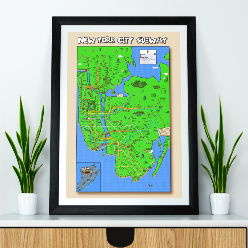 New York Super Mario World Map in Fine Art Print by Mario Maps