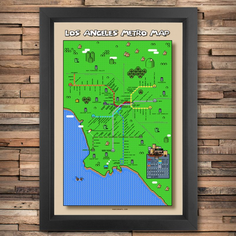 Los Angeles Super Mario World in Fine Art Print by Mario Maps
