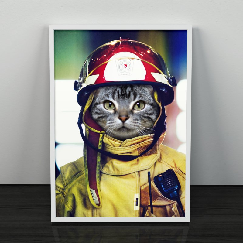 Cat Firefighter in Fine Art Print by Mario Maps