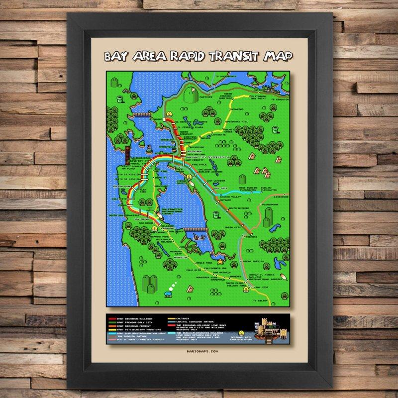 Bay Area Super Mario Map in Fine Art Print by Mario Maps