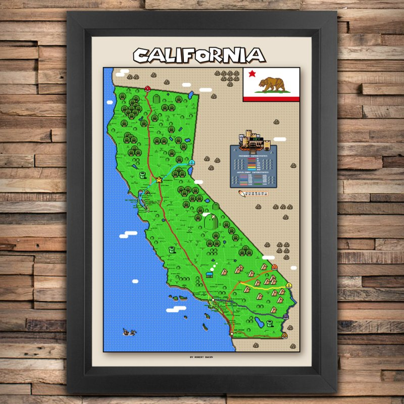 California Super Mario World Map in Fine Art Print by Mario Maps