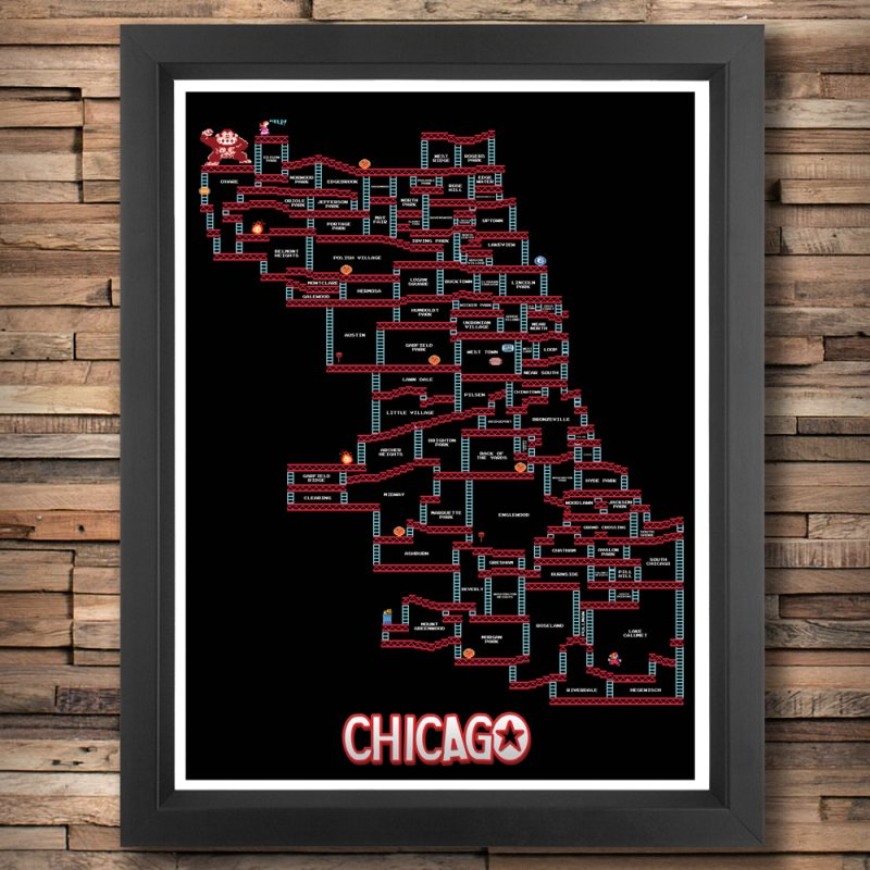 Chicago Donkey Kong Neighborhoods in Fine Art Print by Mario Maps