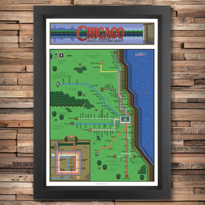 Chicago Zelda Map in Fine Art Print by Mario Maps