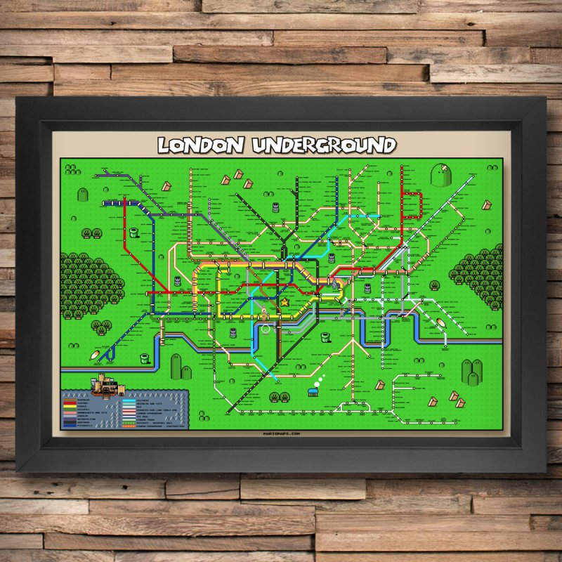 London Super Mario Map in Fine Art Print by Mario Maps