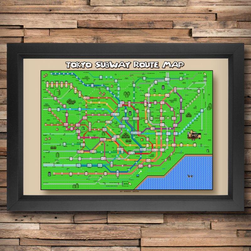 Tokyo Super Mario Map in Fine Art Print by Mario Maps