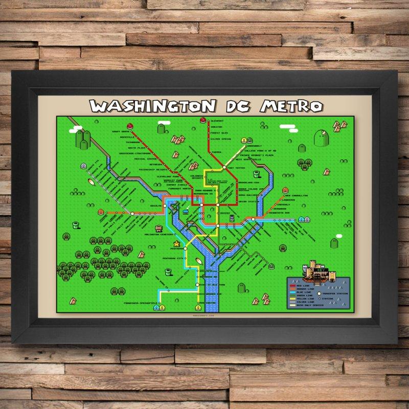 Washington DC Super Mario Metro Map in Fine Art Print by Mario Maps