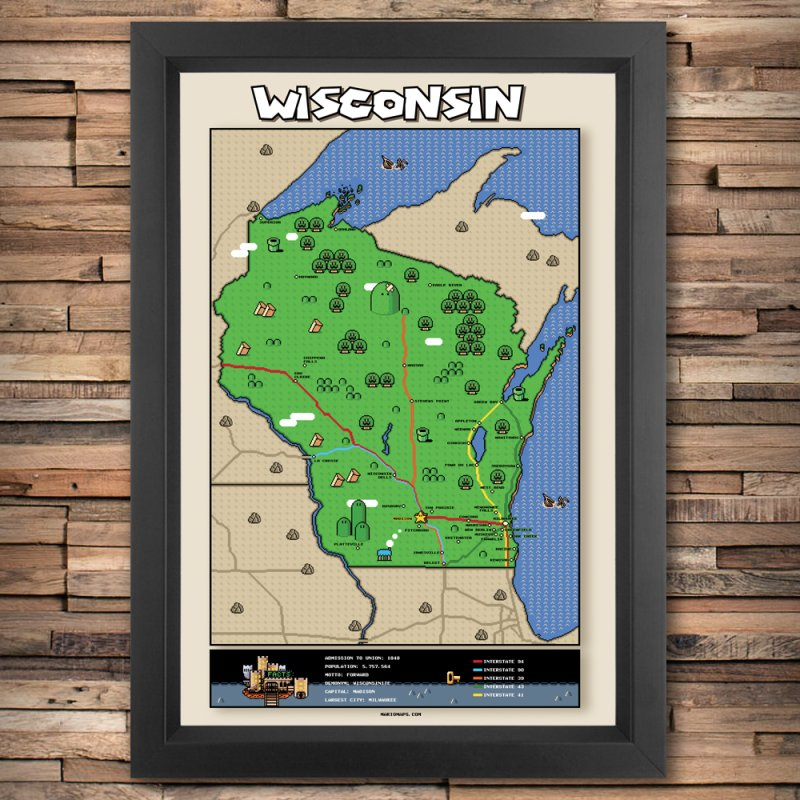 Wisconsin Super Mario Map in Fine Art Print by Mario Maps