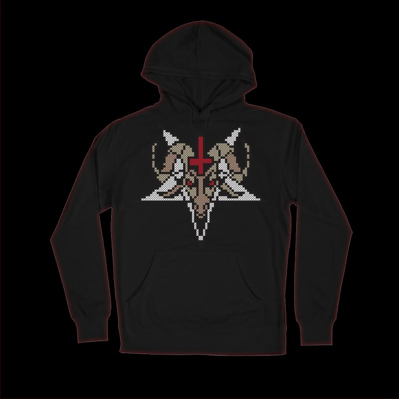 Pentagram cross stitching in Men's French Terry Pullover Hoody Black by marpeach's Artist Shop