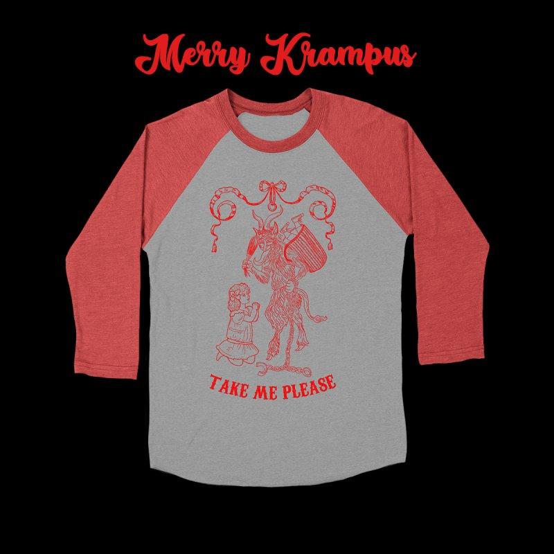 Krampus in Men's Baseball Triblend Longsleeve T-Shirt Chili Red Sleeves by marpeach's Artist Shop